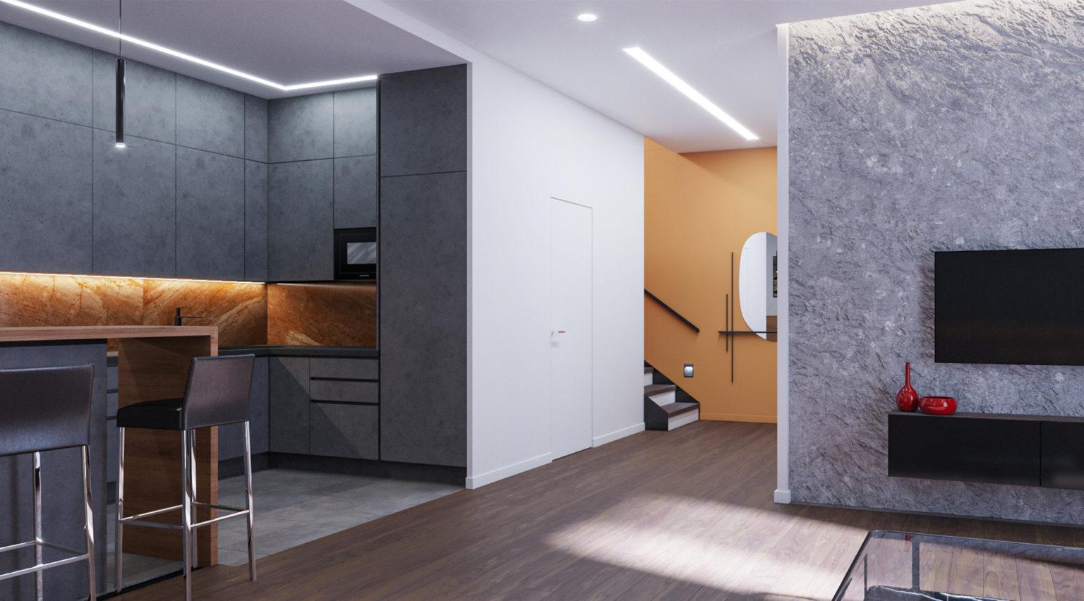 дизайн-проект интерьера таунхауса кухня-гостиная